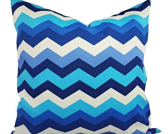 Two Indoor Outdoor Pillow Covers - Blue Navy and Tan Pillow - Chevron Patio Pillow - Couch Pillow - 16x16 18x18 20x20 22x22 24x24 12x16