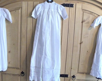 Vintage Christening Gown - White Cotton Baptism Robe - Antique Dress for Doll or Bear