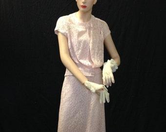 Dress, Pink Lace, Vintage, 2-Piece