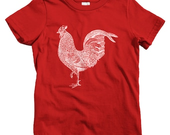 Kids Rooster T-shirt - Baby, Toddler, and Youth Sizes - Rooster Gift, Farm Kids, Farmer Kids, Sriracha Kids, Farm Animal Kids, Farming Shirt
