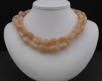 Peach Moonstone Two-Strand Necklace