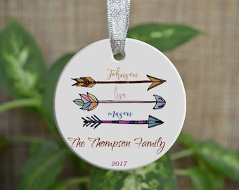 Personalized Christmas Ornament, Our First Christmas as a family ornament, Custom Christmas Ornament, Arrow ornament, Christmas gift. o81