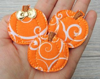 Pumpkin feltie - Pumpkin felties - Burlap pumpkin - Fall feltie - Vinyl pumpkin feltie  - Glitter felties
