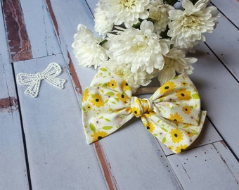 Large Pinwheel Bow, CLARA, For the Love of Daisies/Baby bow/hair bow/spring/nylon headbands/clip/baby gift