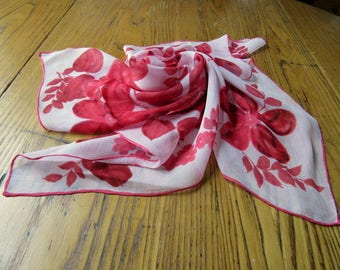 Vintage Red & White Floral Chiffon Scarf, Red Chiffon Scarf, Made In Japan, Chiffon Scarf, Red Floral Scarf, Retro Style, 1950's Fashion