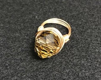 Beaded Wire Ring, Size 7 Beaded Ring, Gold Wire Wrapped Beaded Ring, Gift For Her, Handcrafted