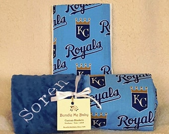 Kansas City Royals Baby Blanket Toddler Minky NAME Embroidered Gift Set Large PERSONALIZED Baby Boy Girl Rangers Cardinals Blue Jays Mets