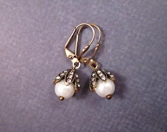 Pearl and Rhinestone Earrings, Flower Bead Caps, White and Brass Dangle Earrings, FREE Shipping U.S.
