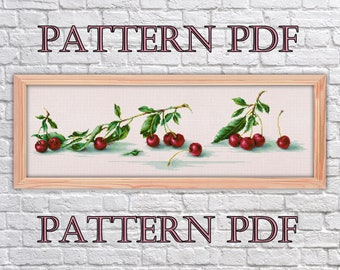 cross stitch pattern Cherry, berries cross stitch, cross stitch fruit, Pattern PDF,  cross stitch kitchen