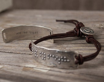Walk By Faith Bracelet, Visible Faith, Christian, Sterling Silver Jewelry, Handmade, Leather, Braille