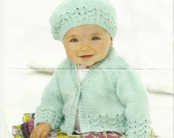 Childs Cardigan and Beret Knitting Pattern 0 - 7 years.
