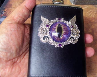 Steampunk Dragon Eye Flask (F701) Purple Gold Sparkle Hand Painted Eye, 8 Oz Stainless Steel, Leather Wrap, Silver Plated Hardware, Crystals