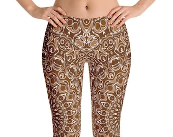 Chocolate Brown Yoga Leggings, Brown Leggings, Brown and White Printed Leggings, Mandala Art Tights, Stretch Pants