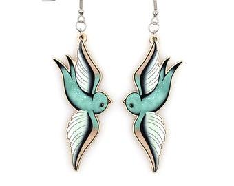 Morning Dew Swallows - Dangle Earrings