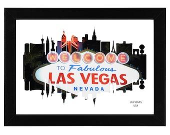 Las Vegas City Skyline Print - Fabulous Las Vegas sign