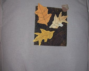 Womens sweatshirt with colorful leaves. XL