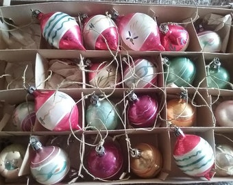 Vintage 1940's Feather Tree Christmas Ornaments