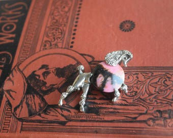 Vintage Poodle Brooch, Marbled Stone Poodle Pin, jewelry for dog lover, Jewelry gift for her