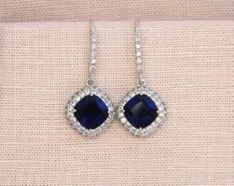 Sapphire Blue wedding earrings, Bridal necklace, Cushion Cut Bridal Earrings, Sapphire Blue Halo  Bridesmaids Jewellery,  Molly Earrings