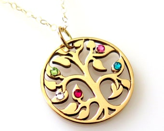 Tree Of Life Necklace, Family Tree, Birthstone Necklace For Mom, Grandma Necklace, Tree Of Life Pendant, Gift For Mom, Swarovski Crystal