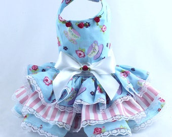 Dog Dress, Dog Harness Dress, Dog Fashion for Small Dog, Summer Dress for Dogs, Ruffle Dress, Handmade, Custom Dog Dress, Blue, Rose