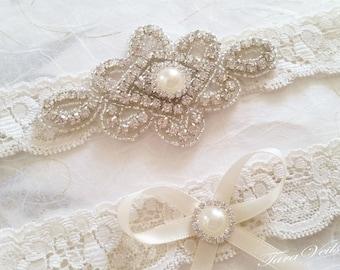 Wedding garter set / Bridal garter set / Rhinestone Garter/ wedding Ivory garters / bridal Ivory garter/ lace garter / Vintage Garter