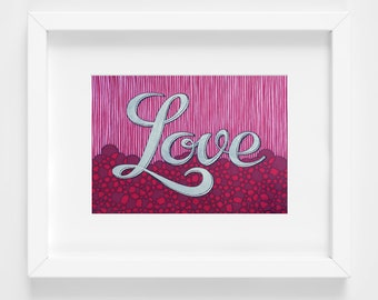 Love Art Print, 11x14 Reproduction, Modern Home Decor, Valentines Wall Art, Black Red Silver, Gift For Her, Geometric Artwork, Fun Happy Art