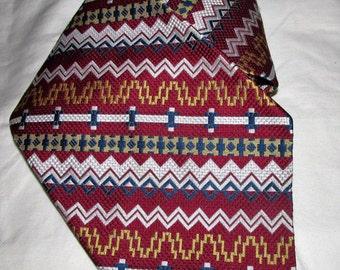 Carnaval De Paris Necktie 1960s Extra Wide Tie Made In France Burgundy White Mad Men Style Retro Pete Campbell