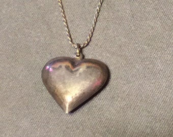 Sterling Silver Puffy Heart Charm Chain Necklace