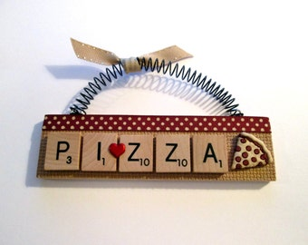 Love Pizza Scrabble Tile Ornament