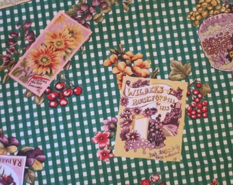 Vintage Tablecloth by Wilton Court Green & White with Seed Packets