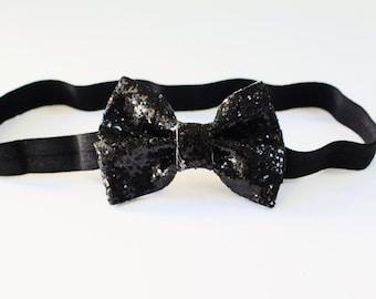 Black glitter bow- black sparkle baby toddler kids bow clip headband- halloween bow