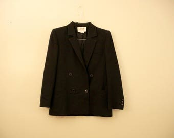 Black Double Breasted Saville 6 Petite Blazer Jacket *Flat Rate Shipping* [Cute Vintage Sportscoat Coat Officewear Women's Size Small]