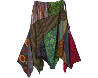 Autumn Harvest Asymmetric Boho Patchwork Hanky Skirt