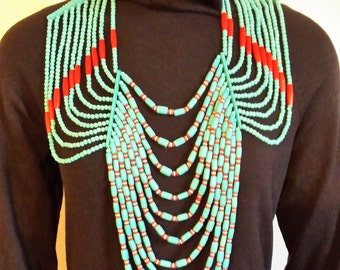Vintage Long Wood Beaded Necklace