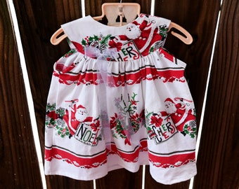 3-9 months - So Cute! Baby Christmas Dress from a vintage tablecloth
