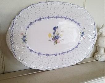 Oval Serving Platter in Blue Peony Pattern by Nikko