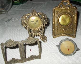set of 4 small old frames bronze or brass photo holder