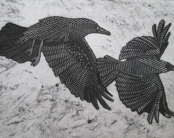Raven Crow Art, Flying American Crows, Original Black and White Collagraph Print, Black Bird - As the Crows Fly 7