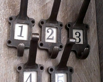Cast Iron School Coat Hooks Vintage Industrial Salvage Style Ceramic Numbers Letters 1 2 3 4 5 6  7  8  9  10  Birthday Gift