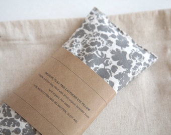 Flax Eye Pillow - Gray floral Eyepillow  - Eye Pillow - Spa favor - Sleep Aid - Mothers day gift - Organic flax pillow, Gift for Grandmother