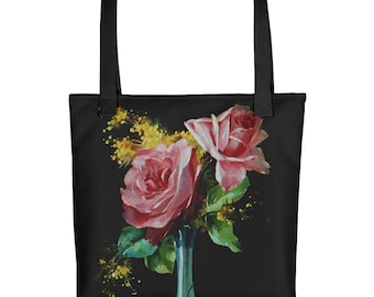 Vintage Rose Vase - Tote Bag