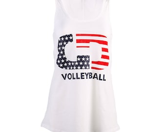 Stars & Stripes USA Volleyball Flo Tank Top Volleyball Tank,  Volleyball Shirts, Volleyball Gift - Free Shipping!