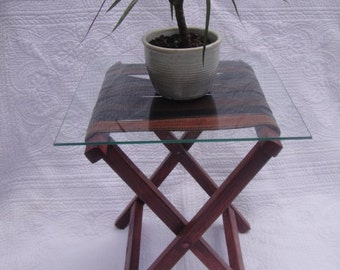 End Table/ Ottoman/ Bench From Recycled Leather Belts