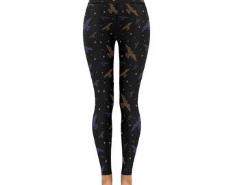 Bird pattern leggings, yoga pants with falcon print in bronze blue and black, various sizes inc XS S M L XL 2XL heathen pagan altclothing