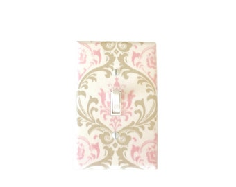 Pink  Light Switch Plate-Pink Grey  Switch Cover-Girls Bedroom-Pink Grey Outlet Cover -  Nursery Decor-Madison Cozy Bella Premier Prints