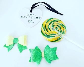 Lemon Yellow and Green Hair Bows