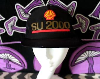 Shell Gasoline SU 2000 Mesh Snapback Baseball Cap. Black 80s Retro Mesh Snapback Shell Gasoline Hat.  Vintage Baseball Cap.