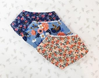 Drool Bandana Bibs - Rifle Paper Co / Floral Bandana Bandanna Bibdana ,Baby Girl Shower Gift Bibs,Teething Bibs,Drool Bibs, Baby Girl Gift