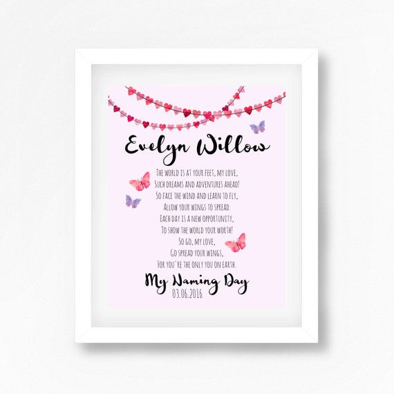 Naming Ceremony Gift Naming Day Gift Namind Day Poem